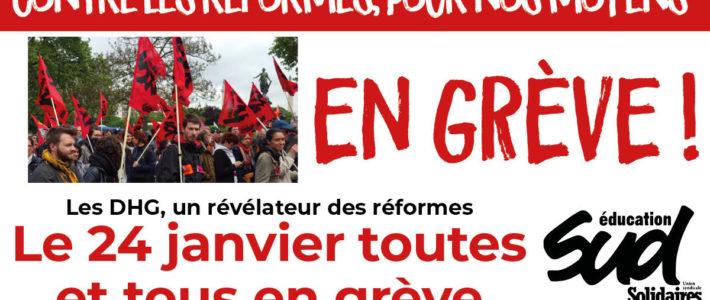 24 janvier : grève et manifestation Éducation Nationale à Grenoble comme partout ailleurs !