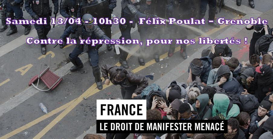 13/04 Agissons pour notre liberté de manifester : Abrogation de la loi !