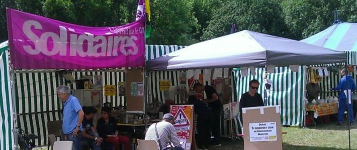 Stand syndical Solidaires Isère à la fête du Travailleur Alpin du 28 au 30 juin 2019 à Fontaine
