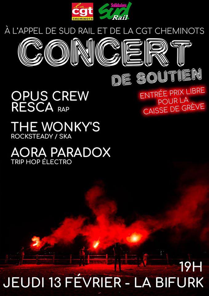 Concert de soutien aux grèvistes le 13 février à la Bifurk' !