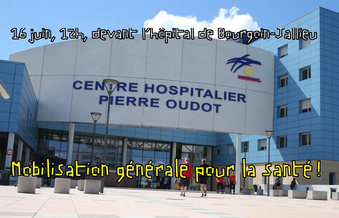 Rassemblement pour la santé le 16 juin à 12h devant l'hôpital de Bourgoin-Jallieu